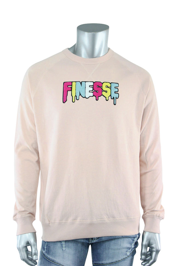 Embroidered Chenille Finesse French Terry Crewneck Light Pink (8688CH)