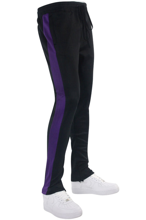 Solid One Stripe Track Pants Black - Purple (100-401)