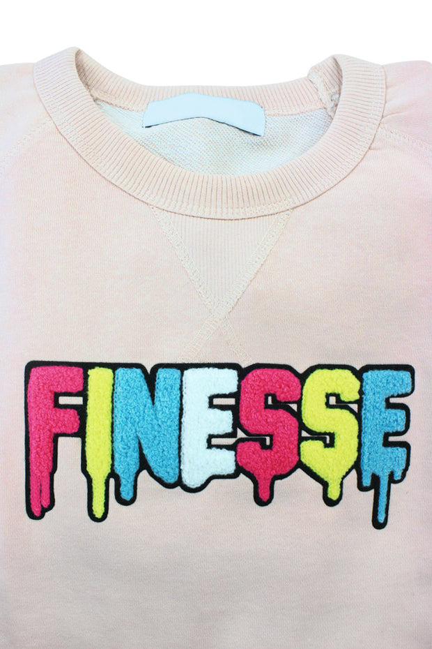 Embroidered Chenille Finesse French Terry Crewneck Light Pink (8688CH) - Zamage