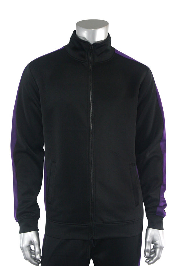 Solid One Stripe Track Jacket Black - Purple (100-501)