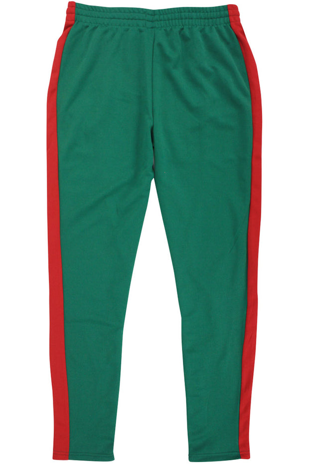 Side Stripe Zip Pocket Track Pants Green - Red (ZCM4418PS)