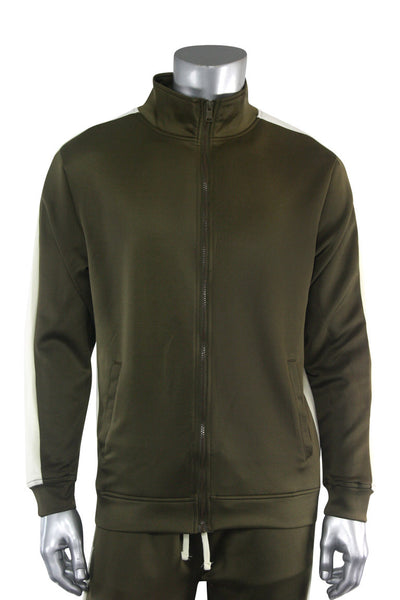 Solid One Stripe Track Jacket Olive - Cream (100-502)