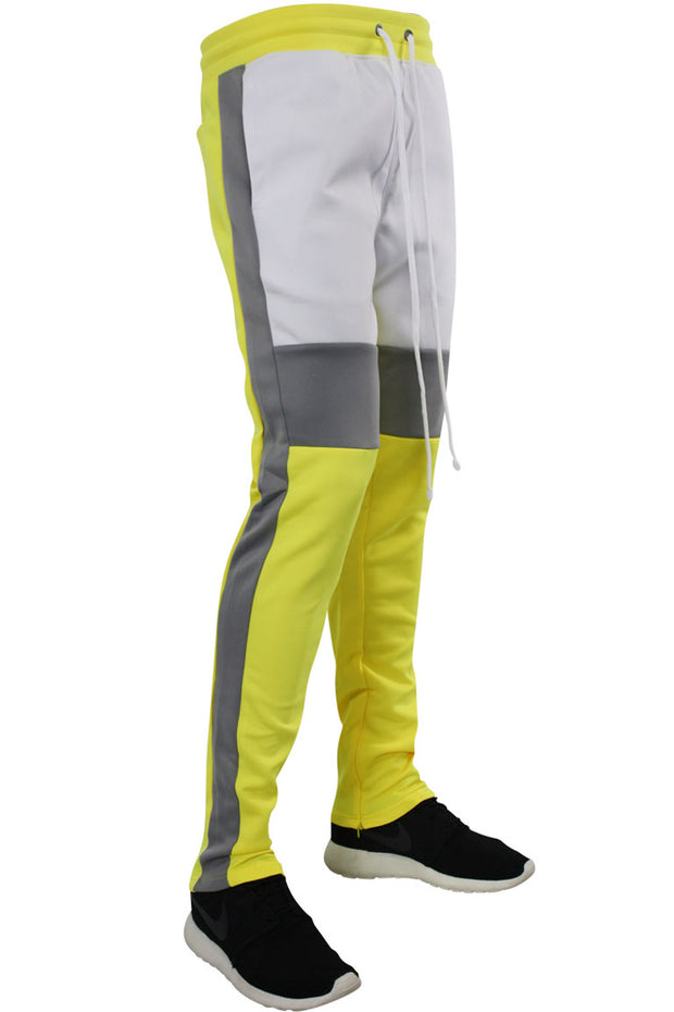 Color Block Track Pants Neon Yellow (1914) - Zamage