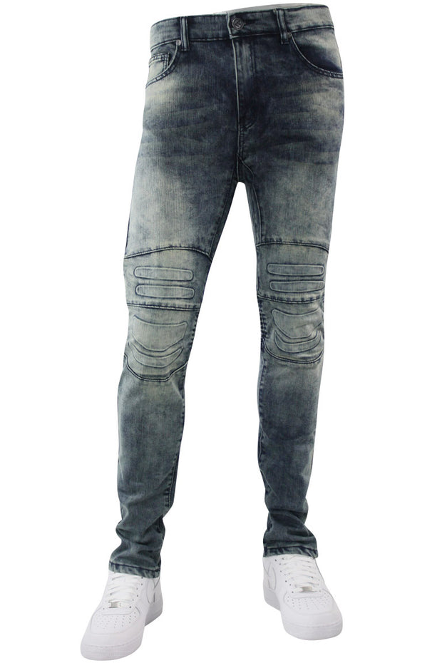 Premium Moto Skinny Fit Denim Vintage Wash (M4582DB) - Zamage