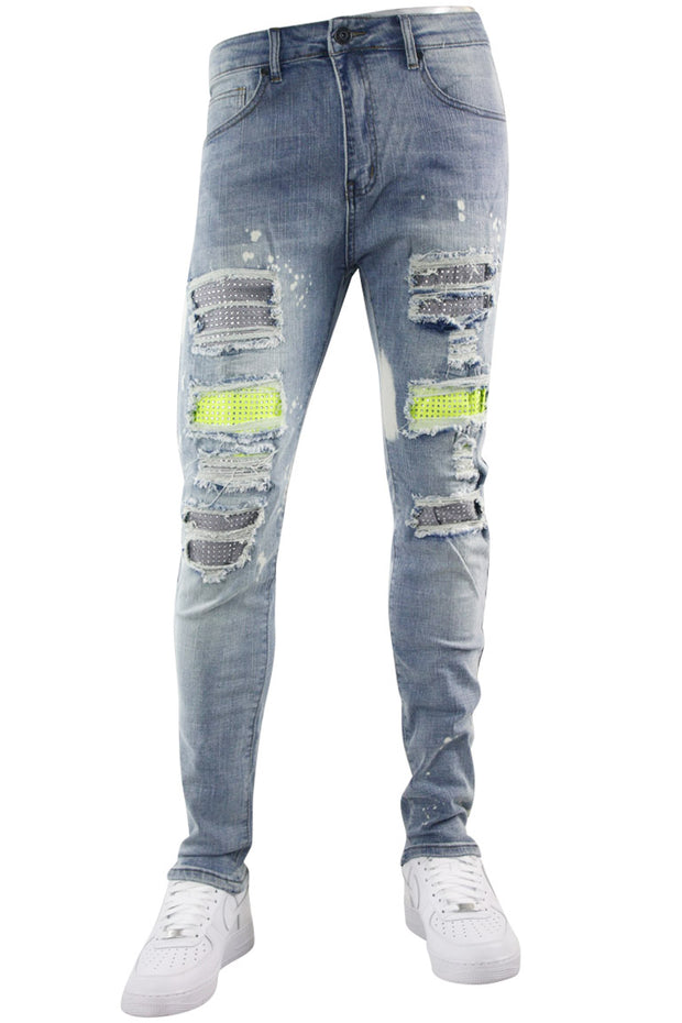 Studded Backin Ripped Skinny Fit Denim Light Stone Wash (M4963D)