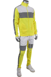 Color Block Track Jacket Neon Yellow - White (1915) - Zamage