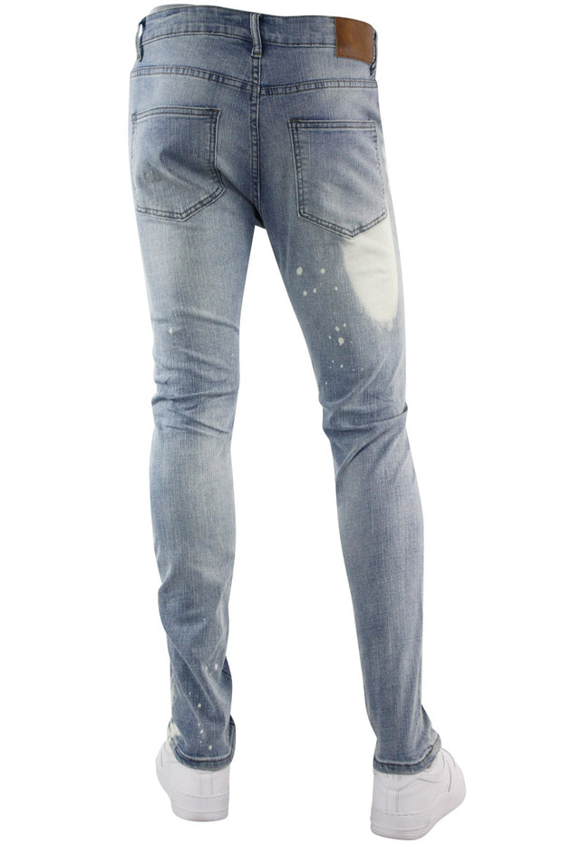 Studded Backin Ripped Skinny Fit Denim Light Stone Wash (M4963D) - Zamage