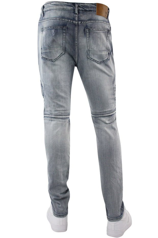 Premium Moto Skinny Fit Denim Vintage Brush Wash (M4650D)