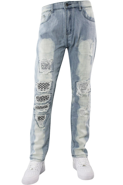 Premium Moto Skinny Fit Denim Light Bleach Wash (M4564D) - Zamage