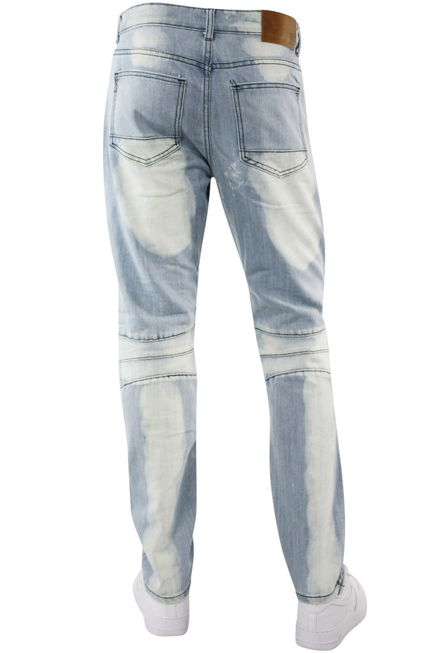 Premium Moto Skinny Fit Denim Light Bleach Wash (M4564D)