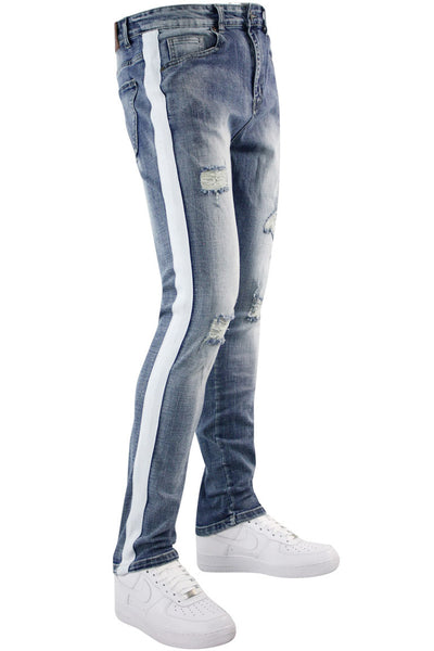 Distressed Side Stripe Denim Blue Wash - White (HZW4228)