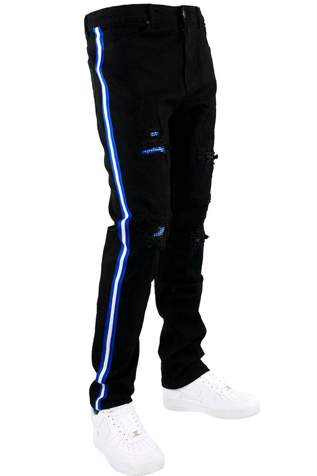 Triple Side Stripe Rhinestones Denim Black - Blue (M5156D) - Zamage