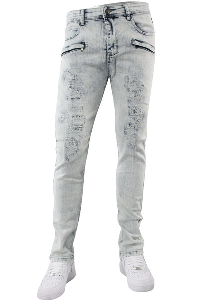 Ripped & Repaired Skinny Fit Denim White Wash (M4389DA) - Zamage