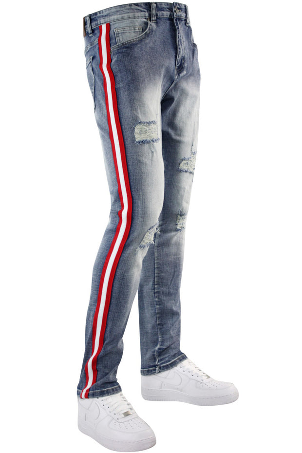Distressed Triple Side Stripe Denim Blue Wash - Red - White (HZW4228)