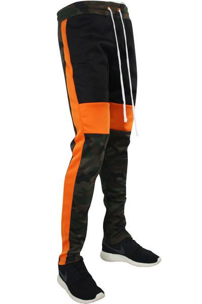 Color Block Camo Track Pants Woodland (1914) - Zamage