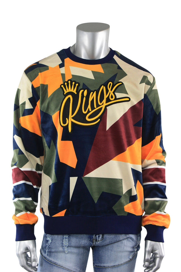 Allover Color Print Kings Velvet Pullover Navy (SF9225) - Zamage