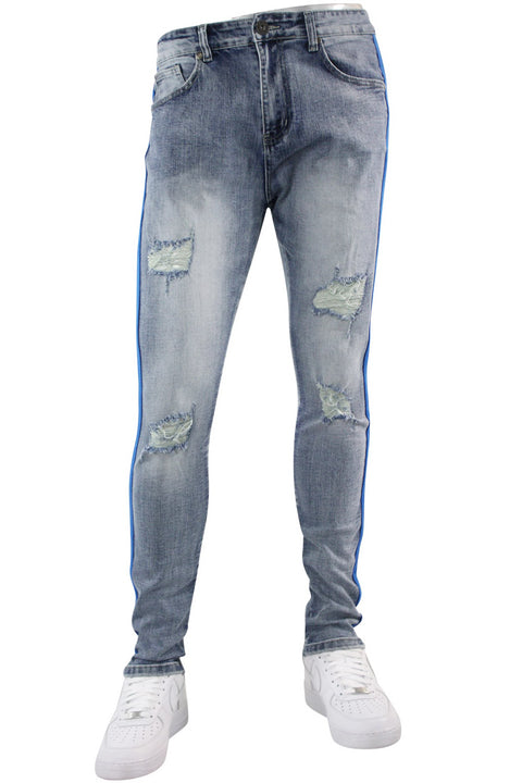 Distressed Triple Side Stripe Denim Blue Wash - Royal - White (HZW4228)