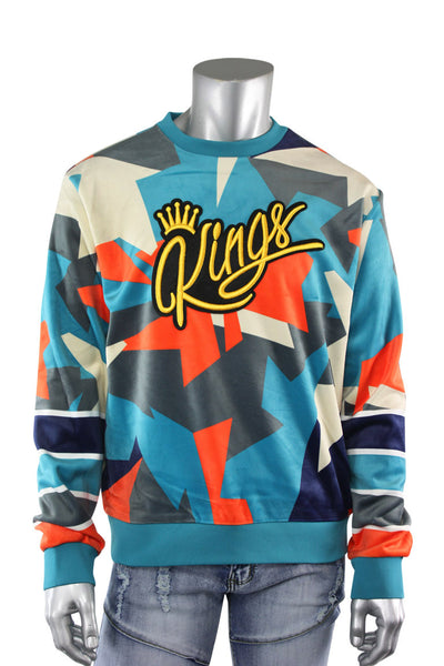 Allover Color Print Kings Velvet Pullover Teal (SF9225) - Zamage