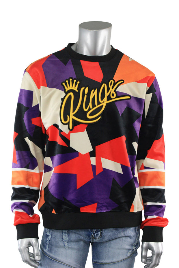 Allover Color Print Kings Velvet Pullover Purple (SF9225) - Zamage