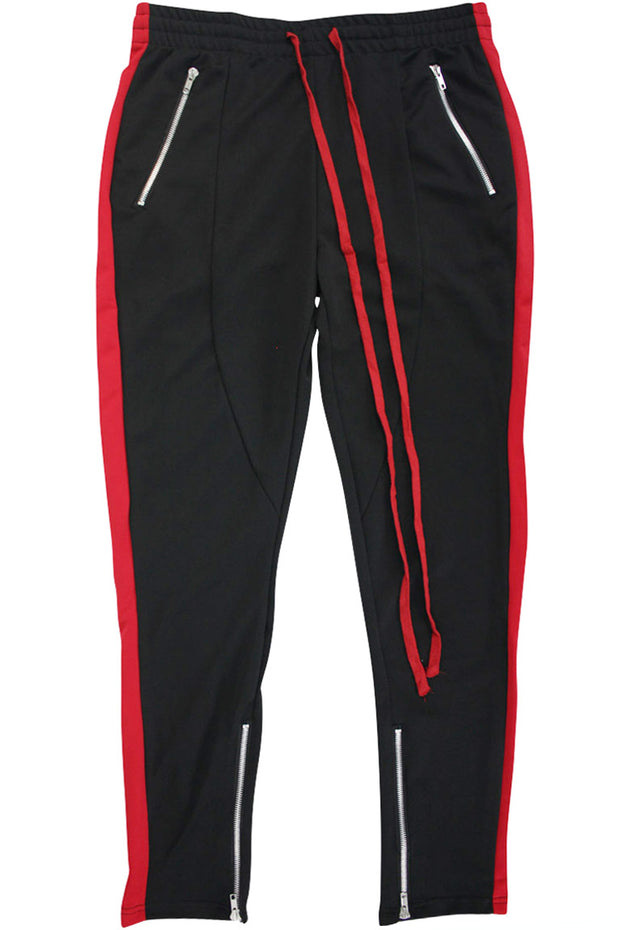 Side Stripe Zip Pocket Track Pants Black - Red (ZCM4418PS)