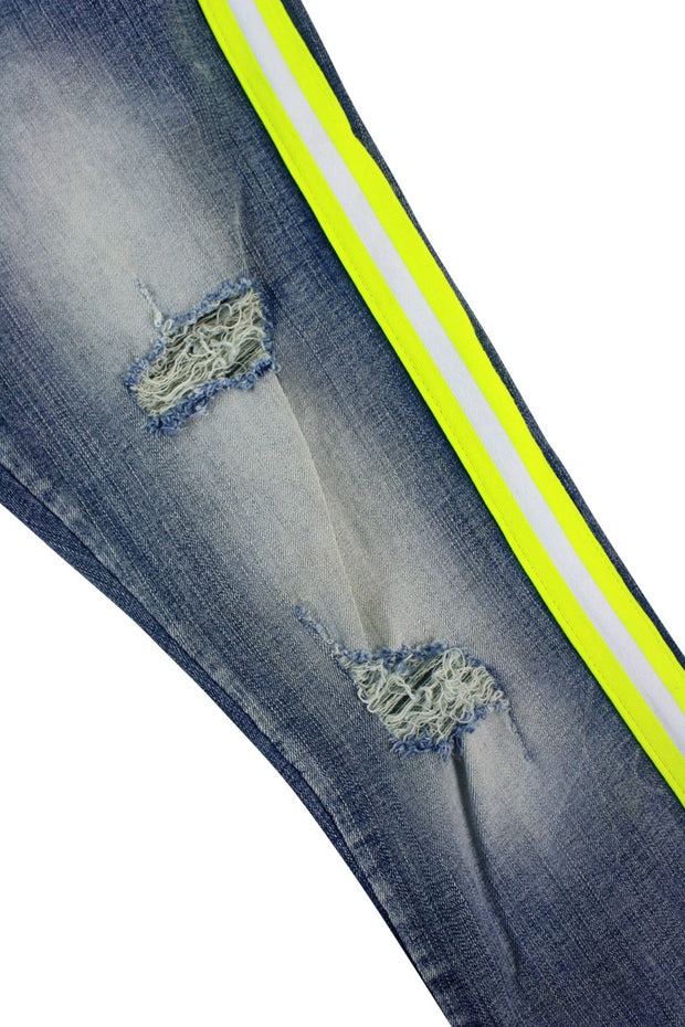 Distressed Triple Side Stripe Denim Blue Wash - Safety Green - White (HZW4228)
