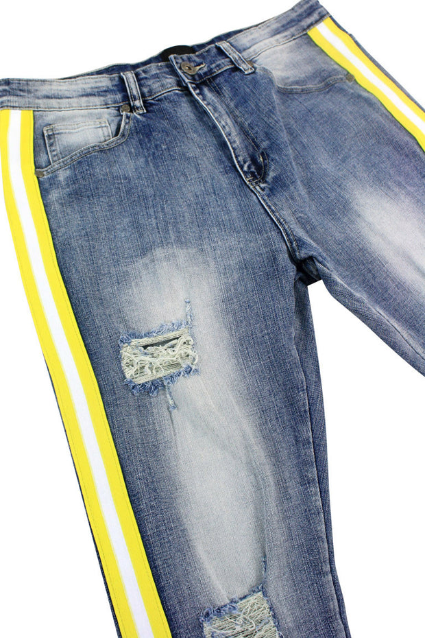 Distressed Triple Side Stripe Denim Blue Wash - Yellow - White (HZW4228)