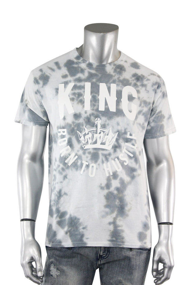 Tie Dye Born To Hustle King Tee Grey (2124TD) - Zamage