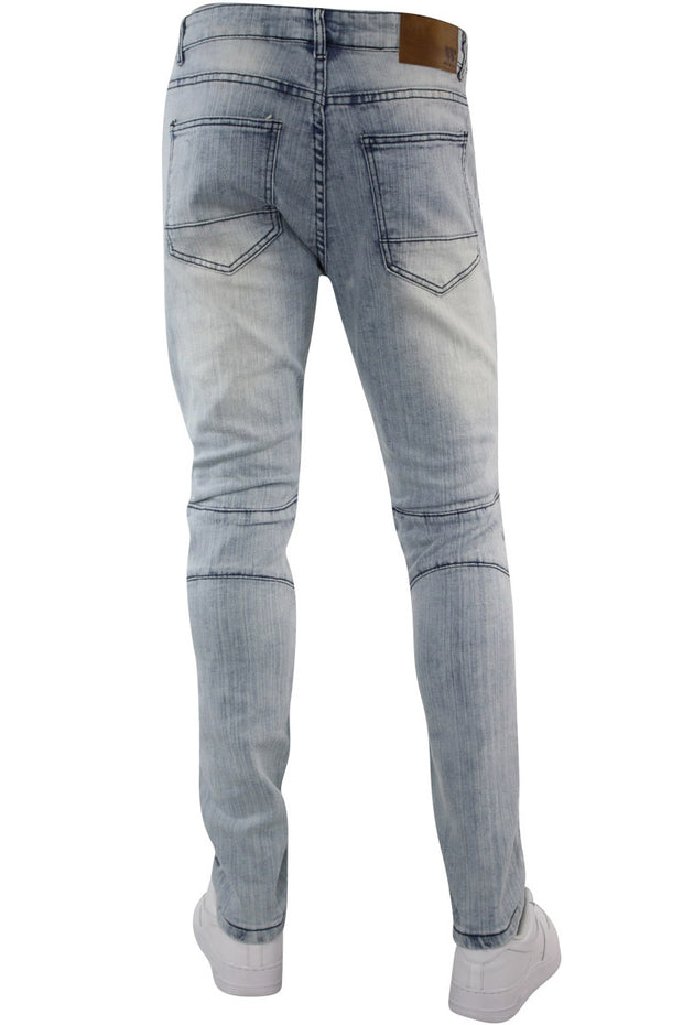 Moto Pocket Zip Slim Fit Denim Light Blue Wash (M4355DA)