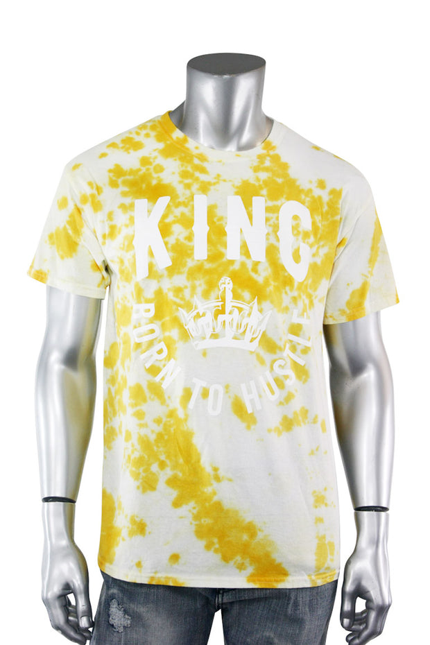 Tie Dye Born To Hustle King Tee Yellow (2124TD) - Zamage