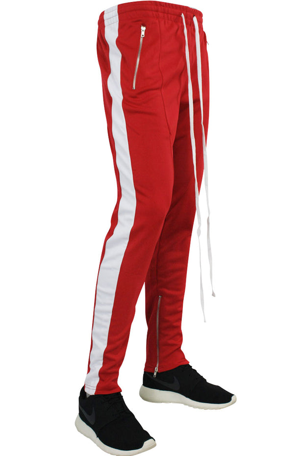 Side Stripe Zip Pocket Track Pants Red - White (ZCM4418PS)