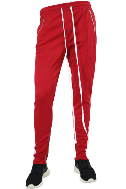 Side Stripe Zip Pocket Track Pants Red White Zcm4418ps