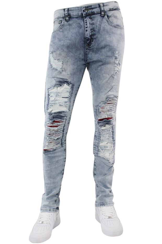 Destroyed Backin Skinny Fit Denim Light Blue (M4673DA) - Zamage
