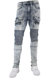 Ribbed Moto Zip Pocket Slim Fit Denim Snow Wash (M4653D)