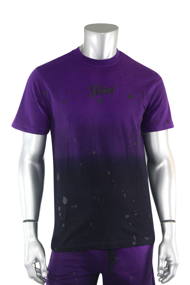 Dip Dye Paint Splatter Tee Black - Purple (1A1-158)