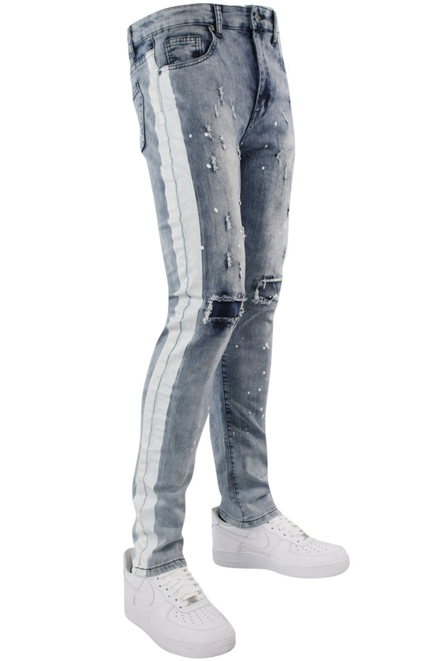 Side Stripe Paint Splatter Denim Light Blue Wash (M4683D)