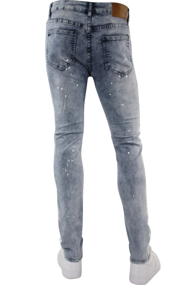 Side Stripe Paint Splatter Denim Light Blue Wash (M4683D) - Zamage