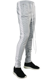 Side Stripe Zip Pocket Track Pants Grey - White (ZCM4418PS)