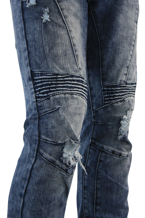 Destroyed Moto Skinny Fit Denim Snow Bleach (M4663DA) - Zamage