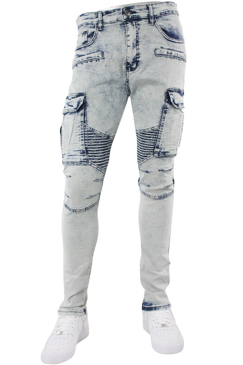 Ribbed Moto Pocket Slim Fit Denim Snow Wash (M4641D)