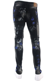 Triple Stripe Paint Splatter Track Denim Black - Royal Blue (ZCM4986D) - Zamage