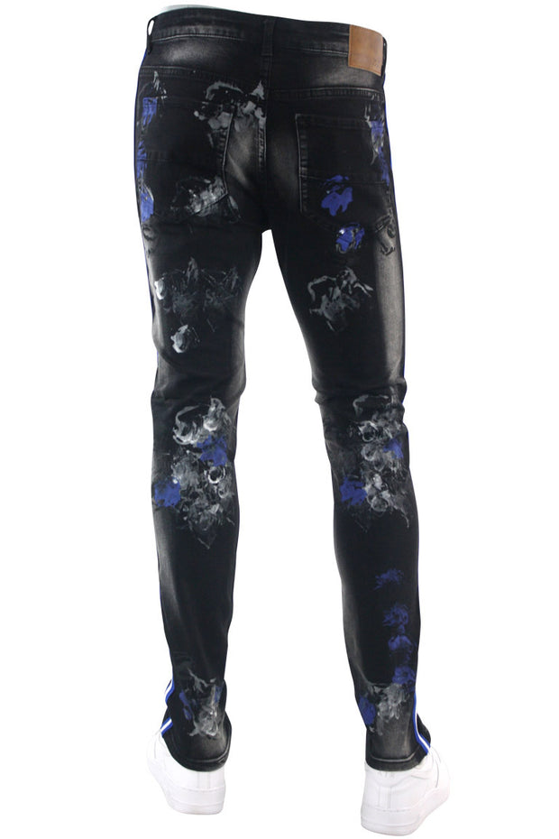 Triple Stripe Paint Splatter Track Denim Black - Royal Blue (ZCM4986D)