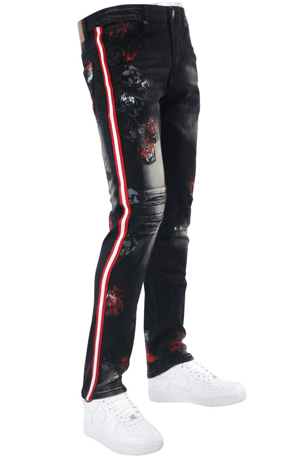 Triple Stripe Paint Splatter Track Denim Black - Red (ZCM4986D) - Zamage