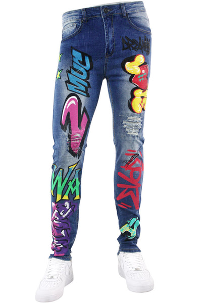 Graffiti Print Skinny Fit Denim Blue Wash (M4989D)