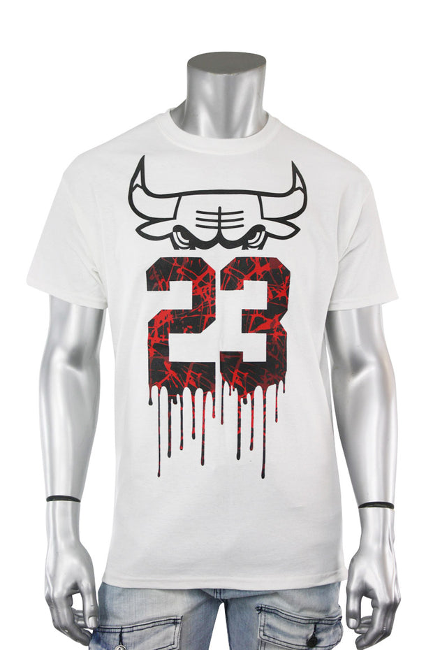 23 Drippin Bull Tee White (9077) - Zamage