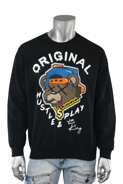 Embroidered Hustle & Play Fleece Crewneck Black (9555CFCH) - Zamage
