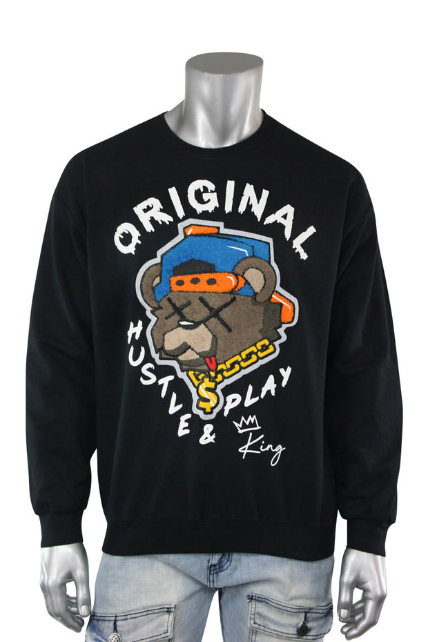 Embroidered Hustle & Play Bear Fleece Crewneck Black (9555CFCH) - Zamage