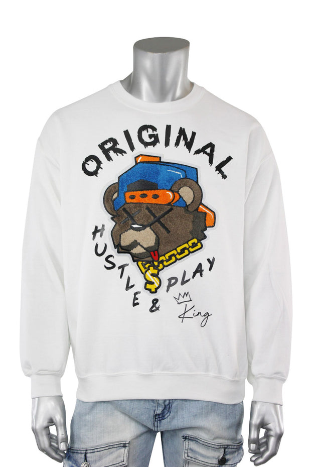 Embroidered Hustle & Play Bear Fleece Crewneck White (9555CFCH) - Zamage