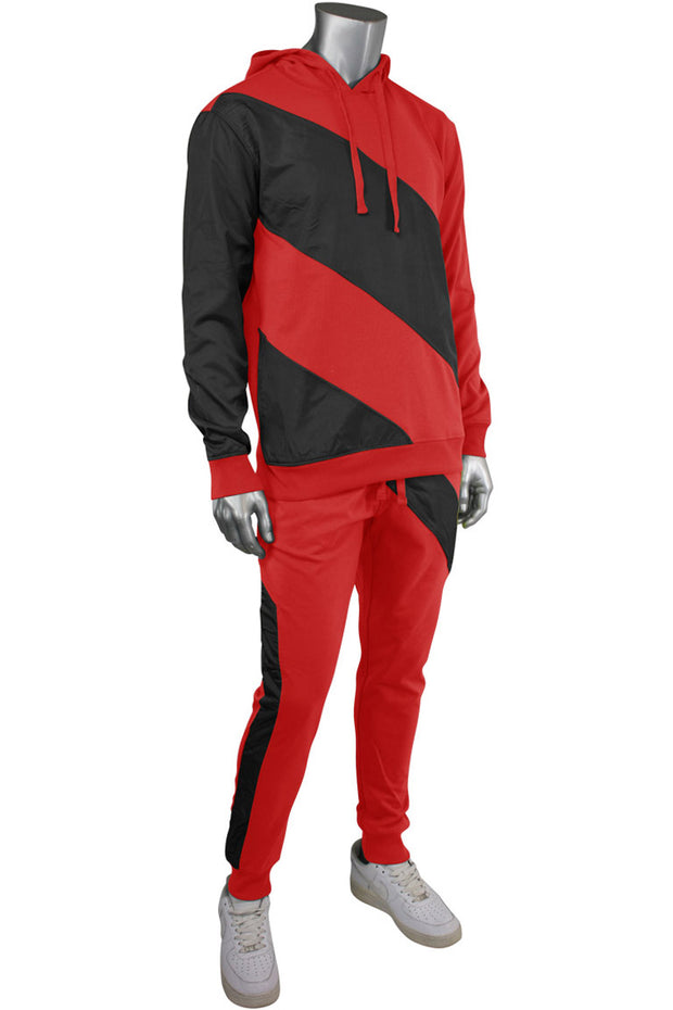 Color Block Tech Fleece Pants Red (1405) - Zamage
