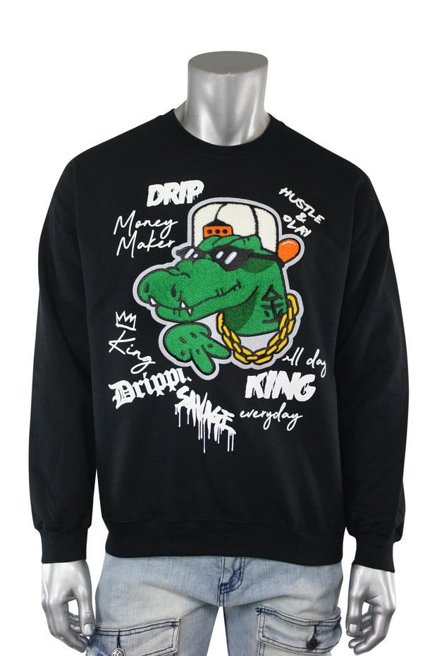 Embroidered Gator Fleece Crewneck Black (9554CFCH) - Zamage
