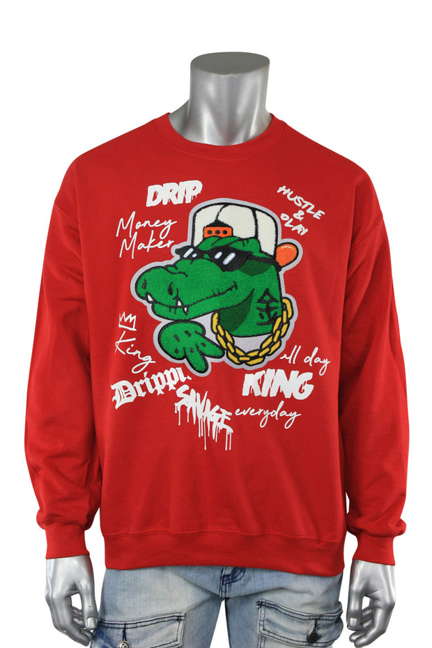 Embroidered Gator Fleece Crewneck Red (9554CFCH) - Zamage